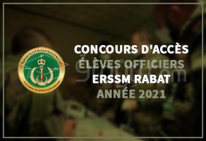 Concours d'accès au cycle des Élèves Officiers de l'ERSSM Rabat 2021